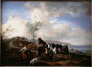 Two Horsemen near a Fountain
