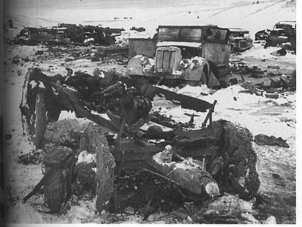 Some of the destroyed German equipment following the attempt to break out from Korsun. Wreckedtruckserickson.jpg