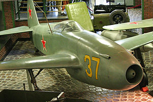 Yakolev Yak-15 37 yellow (8454539446).jpg