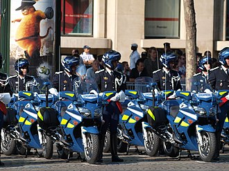 Law enforcement in France - Gendarmerie motorcycles for Bastille Day military parade.