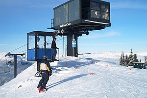 Lift Engineering - An example of a Yan fixed-grip chairlift;  the Catskinner triple chair at Blackcomb, B.C.