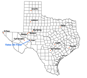 Yates Oil Field - Location of the Yates Oil Field in Texas, showing major and nearby cities.  Black lines are county boundaries.