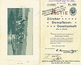 Zürichsee-Schifffahrtsgesellschaft - Share of the Zürcher Dampfboot-Gesellschaft, issued 28. December 1898