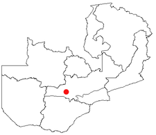 Location of Mumbwa in Zambia