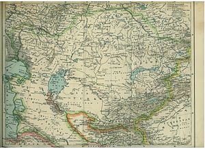 Naimans - Map from a 1903 Polish encyclopedia showing the Naiman people living north of Lake Balkhash in eastern Kazakhstan