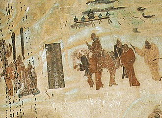 Zhang Qian - Zhang Qian taking leave from emperor Han Wudi, for his expedition to Central Asia from 138 to 126 BC, Mogao Caves mural, 618 – 712...