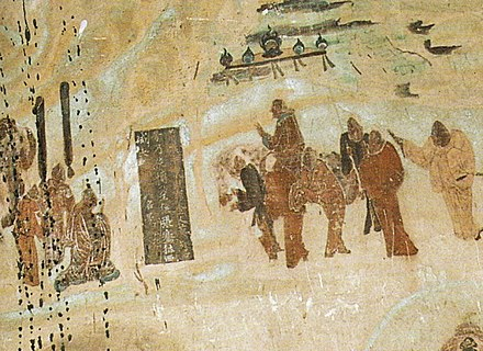 Zhang Qian taking leave from emperor Han Wudi, for his expedition to Central Asia from 138 to 126 BC, Mogao Caves mural, 618–712 AD.