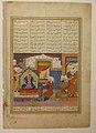 """Abu'l Mihjan and Sa`d ibn Abi Wakkas Before a Ruler"", Folio from a Khavarannama (The Book of the East) of ibn Husam al-Din MET sf55-184-2.jpg"