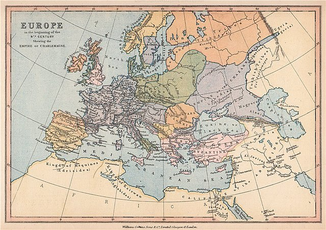 map of 9th century europe File:'Europe in the beginning of the 9th Century', 1878 map.