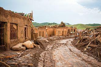 Brumadinho dam disaster - Bento Rodrigues Village right after the similar Mariana dam disaster of 2015