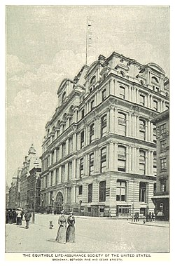 (King1893NYC) pg677 THE EQUITABLE LIFE-ASSURANCE SOCIETY OF THE UNITED STATES. BROADWAY, BETWEEN PINE AND CEDAR STREETS.jpg