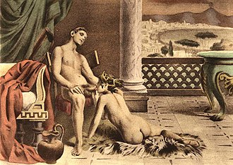 Fellatio - Illustration by Édouard-Henri Avril of fellatio scene