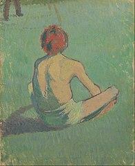 Boy sitting in the grass