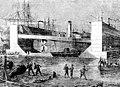Броненосец в железном плавучем доке завода Карра и Макферсона. 1864 год. Гравюра с рисунка А. К. Беггрова.jpg