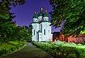 Комплекс споруд Видубицького монастиря, Георгіївський собор, вечірня підсвітка.jpg