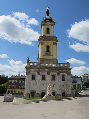Buchach - The old town hall of Buchach, a joint work of architect Bernard Meretyn and sculptor Jan Jerzy Pinzel.