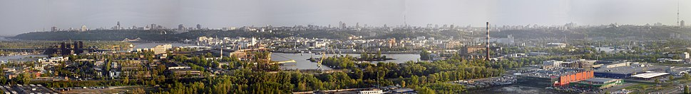 A panoramic view of Right-Bank Kiev, where the city centre is located (May 2011)