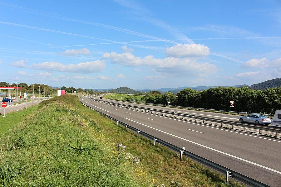 Трасса A36 - E60 около г. Маршо. Вид в сторону Монбельяра.