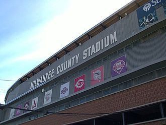 Milwaukee County Stadium - Third base grandstand marquee in 2000