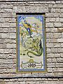 119 Xalet de Sant Jordi, barri del Balneari (Vallfogona de Riucorb), plafó ceràmic.jpg