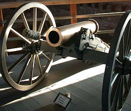 12 pounder mountain howitzer on display at Fort Laramie in eastern Wyoming.jpg
