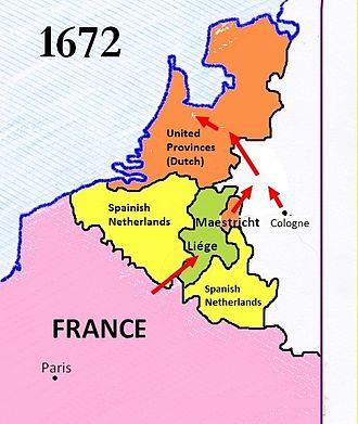 Franco-Dutch War - The 1672 French offensive; the alliance with Münster and Cologne allowed them to bypass Spanish possessions in the Low Countries