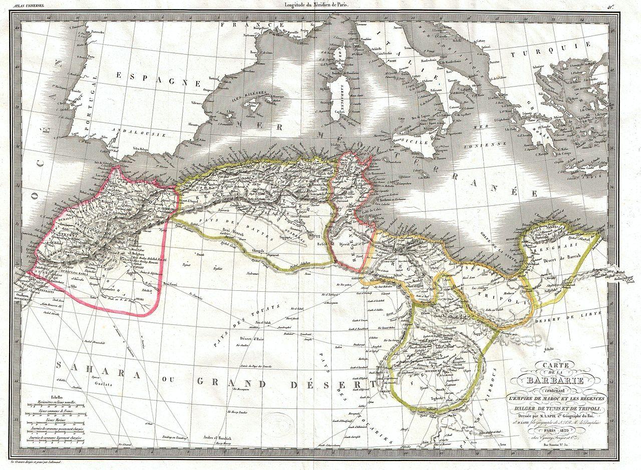 ملف 1829 Lapie Map Of The Eastern Mediterranean Morocco And The Barbary Coast Geographicus Barbarie Lapie 1829 Jpg ويكيبيديا