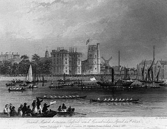 The Boat Race - An engraving of the 1841 Boat Race, with Lambeth Palace