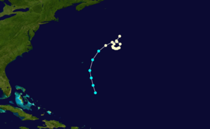 1853 Atlantic hurricane season - Image: 1853 Atlantic hurricane 6 track