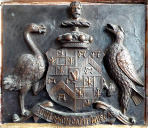 Baron Churston - Heraldic achievement of John Yarde-Buller, 2nd Baron Churston (1846–1910), detail from 1901 Yarde-Buller memorial monument in Churston Ferrers Church, Devon