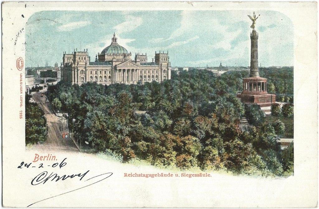 Colonne de la Victoire à Berlin sur une carte postale de 1906.