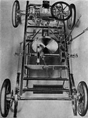 Friction drive - A Lambert automobile from 1906 with the friction drive revealed.