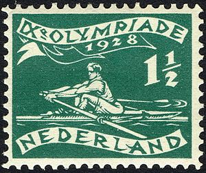 Rowing at the 1928 Summer Olympics - Image: 1928 Summer Olympics stamp of the Netherlands rowing
