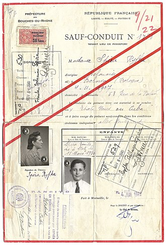 French passport - 1941 French Vichy SAFE - CONDUCT travel document issued to a Jewish refugee.