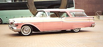 Hardtop - 1957 Mercury Commuter two-door hardtop wagon with the side windows lowered