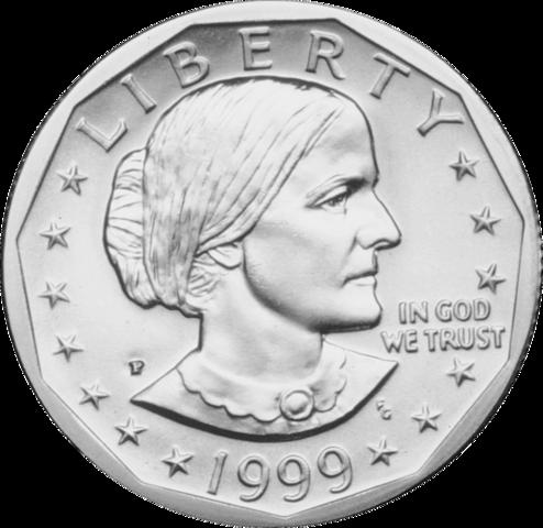 Изображение Сьюзен Энтони на однодолларовой монете 1999 года.