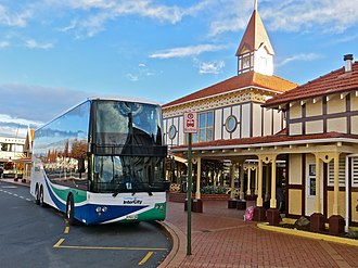 Scania 4-series (bus) - 2007 K124EB with Kiwi Bus Builders body at Rotorua in 2013 on Wellington to Auckland InterCity 601km route