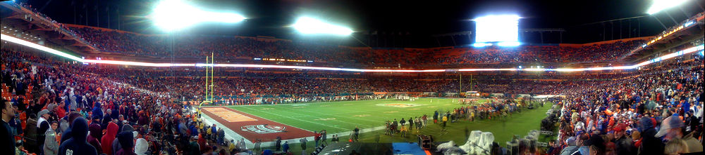 A Panoramic View Of The 2008 Orange Bowl Shows Stands Dolphin Stadium Packed With Kansas And Virginia Tech Fans On Night January 3