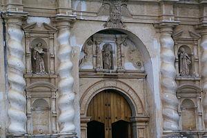 San Francisco Church (Antigua Guatemala) - Salomonic columns at the entrance