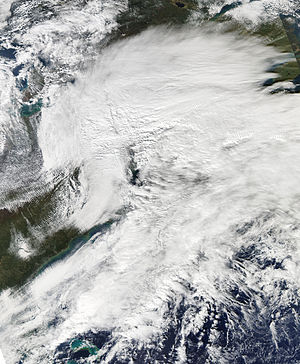 2011 Halloween nor'easter - Satellite image of the storm on October 29