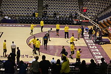 Pregame shootaround of the 2012-13 Michigan Wolverines in their 2012-13 Big Ten Conference season opener at Welsh-Ryan Arena on January 3, 2013 20130103 Pregame shootaround.JPG