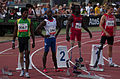 2013 IPC Athletics World Championships - 26072013 - Jayalath Yodha of Sri Lanka, Clavel Kayitare of France, Regas Woods of USA and Daniel Jorgensen of Denmark preparing for the Men's 100m - T42.jpg