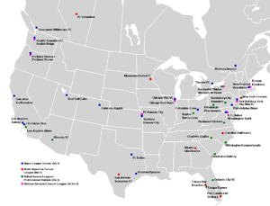 Soccer in the United States - The professional soccer clubs of the United States and Canada, year 2013.