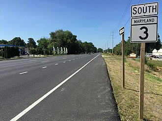 Maryland Route 3 - View south along MD 3 near MD 175 in Millersville
