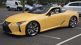 2019 Lexus LC500 (yellow), front left (Greenwich 2019).jpg