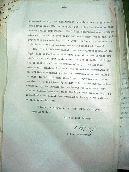 "Last page ""Raczynski's Note"" - official note of Polish government-in-exile to Anthony Eden 10 December 1942. 2 Nota 10.jpg"