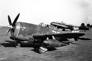 325th Operations Group - 325th Fighter Group P-47 at an Allied airfield in Italy