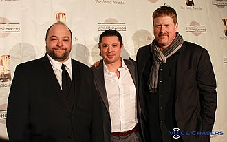 I Know That Voice - Lawrence Shapiro, director; Tommy Reid, producer; and John DiMaggio, producer and narrator at the 2014 Annie Awards