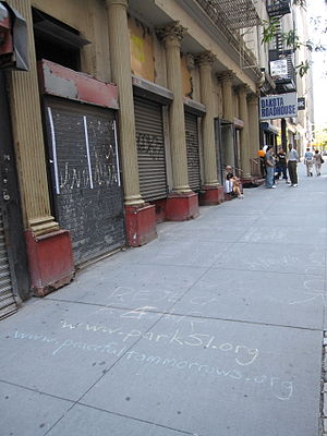 Park51 - Slogans drawn by supporters on the pavement in front of the former Burlington Coat Factory, in 2010