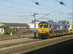 GB Railfreight - Class 66 in First GBRf livery at Doncaster station in September 2007